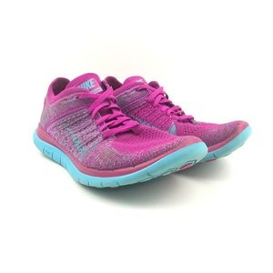 Nike Free 4.0 Flynit Pink Blue Womens Size 7